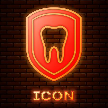Glowing neon Dental protection icon isolated on brick wall background. Tooth on shield logo icon. Vector Illustration