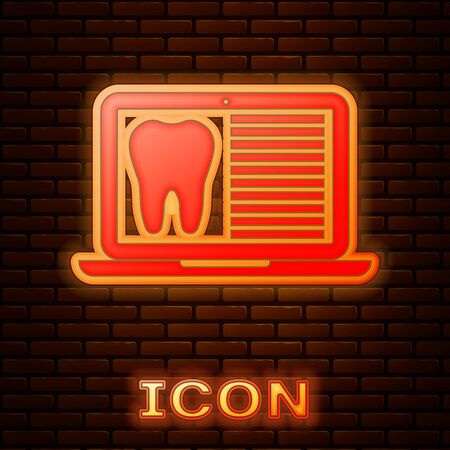 Glowing neon Laptop with dental card or patient medical records icon isolated on brick wall background. Dental insurance. Dental clinic report. Vector Illustration