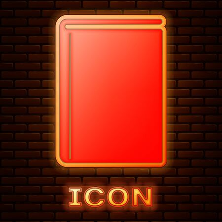 Glowing neon Book icon isolated on brick wall background. Vector Illustration Ilustrace