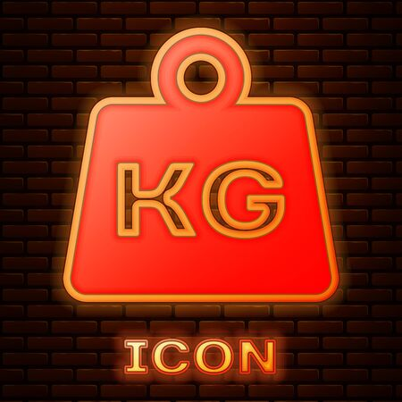 Glowing neon Weight icon isolated on brick wall background. Kilogram weight block for weight lifting and scale. Mass symbol. Vector Illustration
