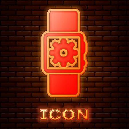Glowing neon Smartwatch setting icon isolated on brick wall background. Smart watch settings. Vector Illustration Standard-Bild - 133378411