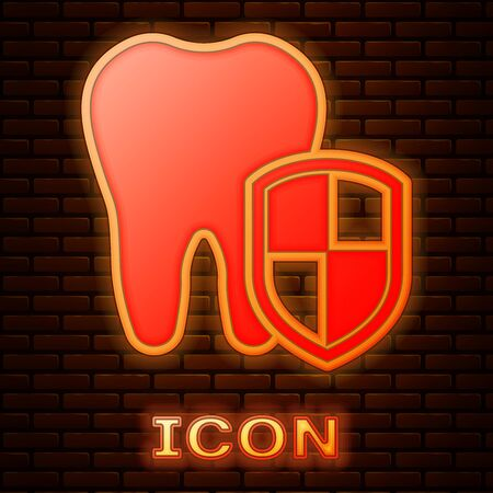 Glowing neon Dental protection icon isolated on brick wall background. Tooth on shield logo. Vector Illustration