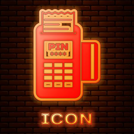 Glowing neon POS terminal with inserted credit card and printed reciept icon isolated on brick wall background. NFC payment concept. Vector Illustration