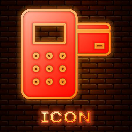 Glowing neon Pos terminal with inserted credit card icon isolated on brick wall background. Payment terminal transaction. Vector Illustration