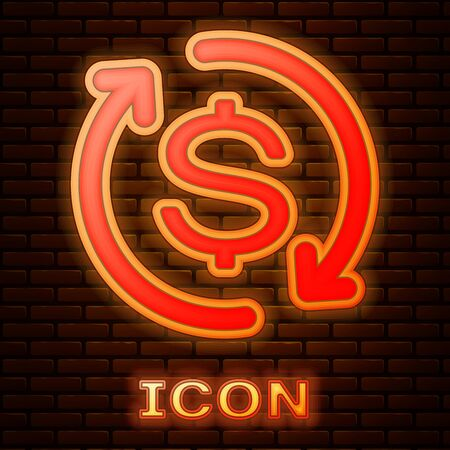 Glowing neon Return of investment icon isolated on brick wall background. Money convert icon. Refund sign. Dollar converter concept. Vector Illustration