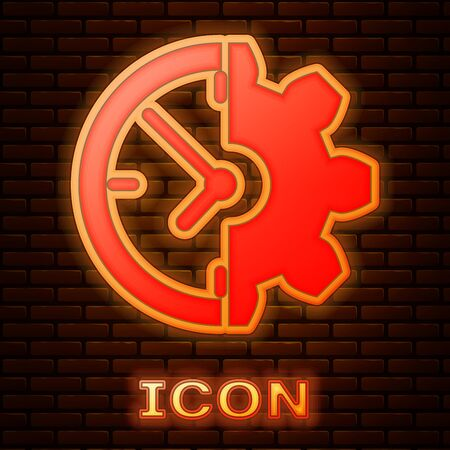 Glowing neon Clock and gear icon isolated on brick wall background. Time Management symbol. Business concept. Vector Illustration Stok Fotoğraf - 133353657