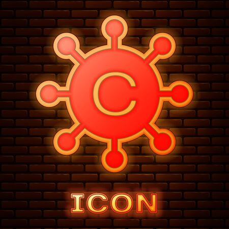 Glowing neon Copywriting network icon isolated on brick wall background. Content networking symbol. Copyright sign. Copywriting network sign. Vector Illustration