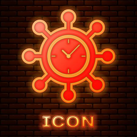Glowing neon Clock and gear icon isolated on brick wall background. Time Management symbol. Business concept. Hub and spokes and clock solid icon. Vector Illustration