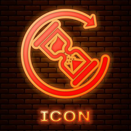 Glowing neon Waiting icon isolated on brick wall background. Wait time icon. Hourglass clock. Vector Illustration Çizim