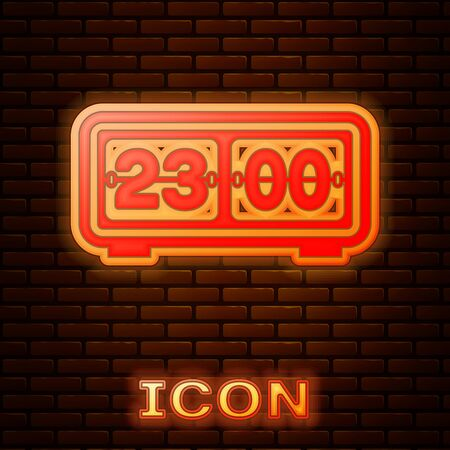 Glowing neon Retro flip clock icon isolated on brick wall background. Wall flap clock, number counter template, all digits with flips. Vector Illustration