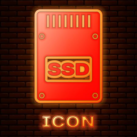 Glowing neon SSD card icon isolated on brick wall background. Solid state drive sign. Storage disk symbol. Vector Illustration