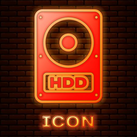 Glowing neon Hard disk drive HDD icon isolated on brick wall background. Vector Illustration
