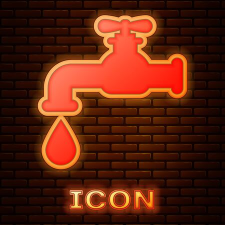 Glowing neon Water tap with a falling water drop icon isolated on brick wall background. Vector Illustration