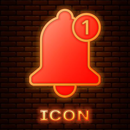 Glowing neon Bell icon isolated on brick wall background. New Notification icon. New message icon. Vector Illustration