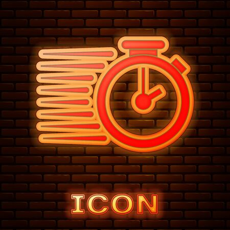 Glowing neon Stopwatch icon isolated on brick wall background. Time timer sign. Vector Illustration Stok Fotoğraf - 133381262