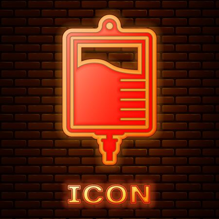 Glowing neon IV bag icon isolated on brick wall background. Blood bag icon. Donate blood concept. The concept of treatment and therapy, chemotherapy. Vector Illustration