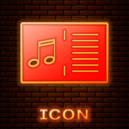 Glowing neon Music book with note icon isolated on brick wall background. Music sheet with note stave. Notebook for musical notes. Vector Illustration Фото со стока - 133396445