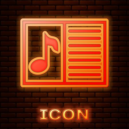 Glowing neon Music book with note icon isolated on brick wall background. Music sheet with note stave. Notebook for musical notes. Vector Illustration