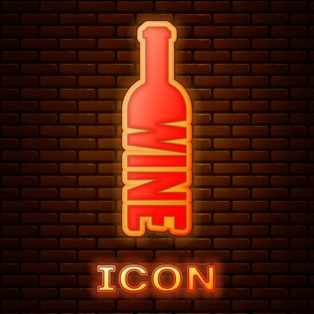 Glowing neon Bottle of wine icon isolated on brick wall background. Lettering bottle of wine. Vector Illustration