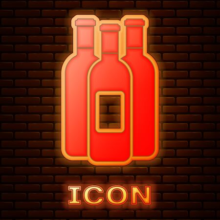 Glowing neon Bottles of wine icon isolated on brick wall background. Vector Illustration Illustration