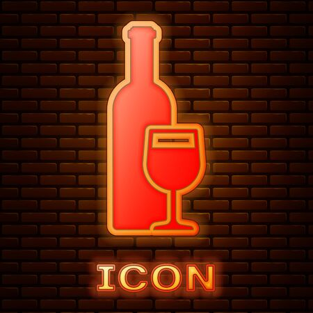 Glowing neon Wine bottle with wine glass icon isolated on brick wall background. Vector Illustration Illustration