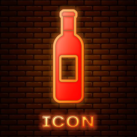 Glowing neon Bottle of wine icon isolated on brick wall background. Vector Illustration