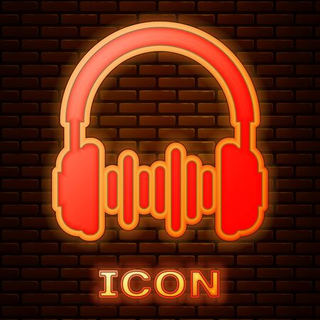 Glowing neon Headphone and sound waves icon isolated on brick wall background. Concept object for listening to music, service, communication and operator. Vector Illustration Ilustração Vetorial