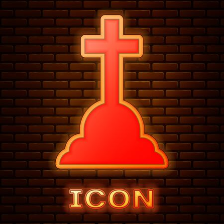 Glowing neon Tombstone with cross icon isolated on brick wall background. Grave icon. Vector Illustration