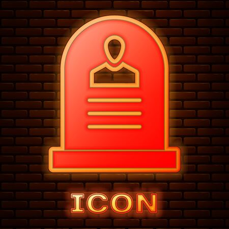 Glowing neon Tombstone with RIP written on it icon isolated on brick wall background. Grave icon. Vector Illustration  イラスト・ベクター素材