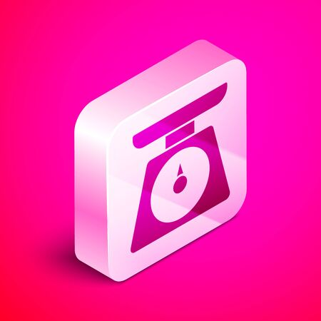 Isometric Scales icon isolated on pink background. Weight measure equipment. Silver square button. Vector Illustration