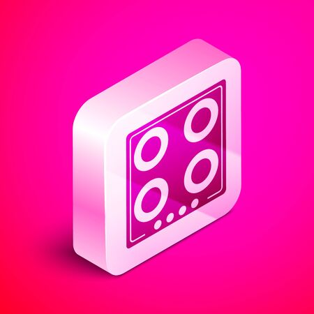 Isometric Gas stove icon isolated on pink background. Cooktop sign. Hob with four circle burners. Silver square button. Vector Illustration