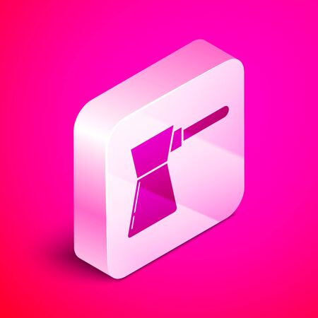 Isometric Coffee turk icon isolated on pink background. Silver square button. Vector Illustration Çizim