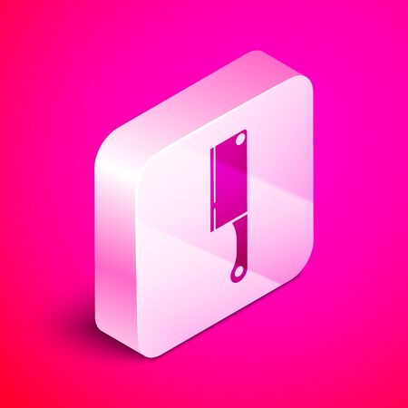 Isometric Meat chopper icon isolated on pink background. Kitchen knife for meat. Butcher knife. Silver square button. Vector Illustration Ilustração