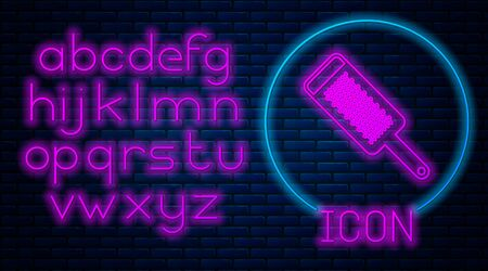 Glowing neon Grater icon isolated on brick wall background. Kitchen symbol. Cooking utensil. Cutlery sign. Neon light alphabet. Vector Illustration Imagens - 133380017