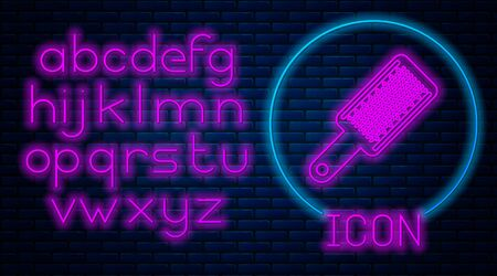 Glowing neon Grater icon isolated on brick wall background. Kitchen symbol. Cooking utensil. Cutlery sign. Neon light alphabet. Vector Illustration Stock Illustratie