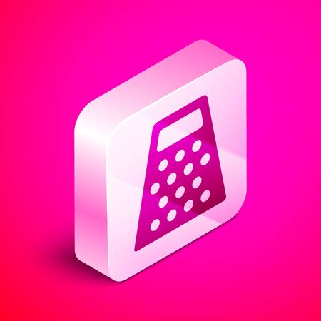 Isometric Grater icon isolated on pink background. Kitchen symbol. Cooking utensil. Cutlery sign. Silver square button. Vector Illustration