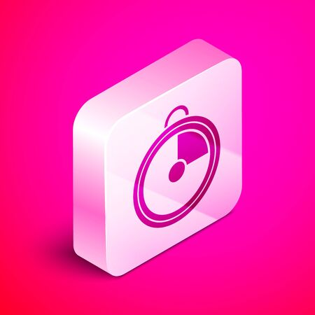 Isometric Kitchen timer icon isolated on pink background. Cooking utensil. Silver square button. Vector Illustration