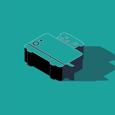 Isometric Toaster with toasts icon isolated on green background. Vector Illustration