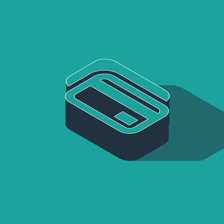 Isometric Credit card icon isolated on green background. Online payment. Cash withdrawal. Financial operations. Shopping sign. Vector Illustration