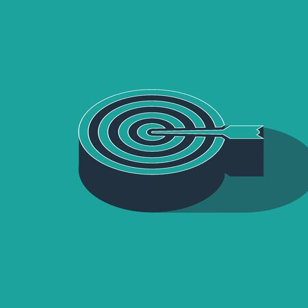 Isometric Target with arrow icon isolated on green background. Dart board sign. Archery board icon. Dartboard sign. Business goal concept. Vector Illustration Ilustracja