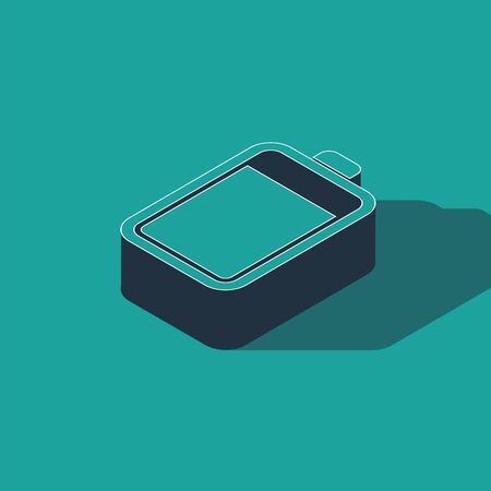 Isometric Battery icon isolated on green background. Vector Illustration 일러스트