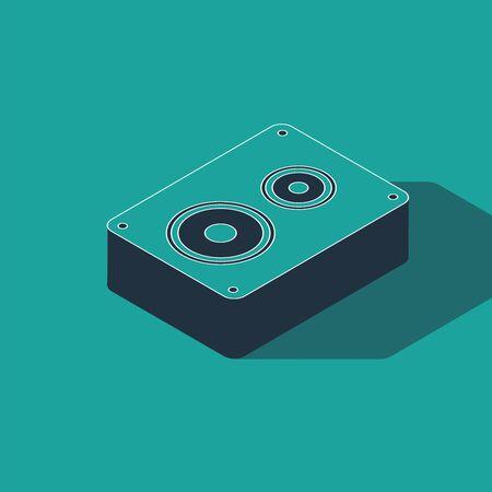 Isometric Stereo speaker icon isolated on green background. Sound system speakers. Music icon. Musical column speaker bass equipment. Vector Illustration