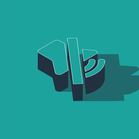 Isometric Speaker mute icon isolated on green background. No sound icon. Volume Off symbol. Vector Illustration 일러스트