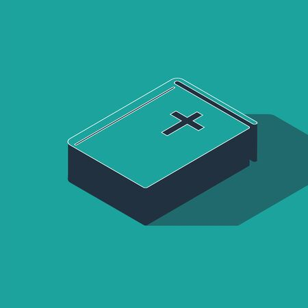 Isometric Holy bible book icon isolated on green background. Vector Illustration 向量圖像
