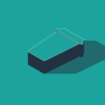 Isometric Coffee cup icon isolated on green background. Disposable coffee cup with hot coffee. Vector Illustration