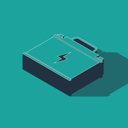 Isometric Car battery icon isolated on green background. Accumulator battery energy power and electricity accumulator battery. Lightning bolt. Vector Illustration  イラスト・ベクター素材