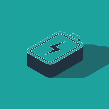 Isometric Battery icon isolated on green background. Lightning bolt symbol. Vector Illustration