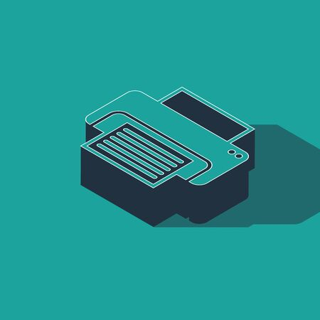 Isometric Printer icon isolated on green background. Vector Illustration
