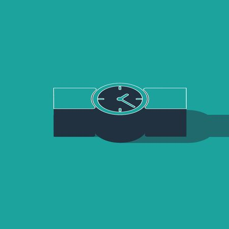 Isometric Wrist watch icon isolated on green background. Wristwatch icon. Vector Illustration