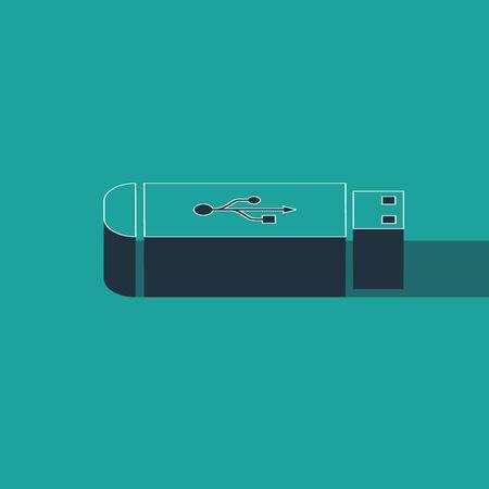 Isometric USB flash drive icon isolated on green background. Vector Illustration Illustration